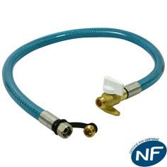 Flexible gaz 1,5 m inox avec robinet ROAI GURTNER 23900.03