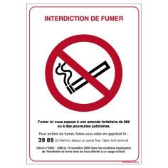 Panneau Interdiction de fumer 29,7 x 21 cm