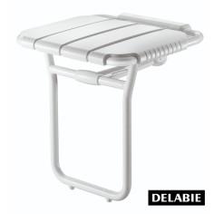 Siège de douche large relevable en aluminium epoxy blanc DELABIE