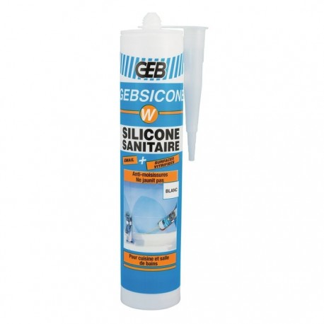 Silicone sanitaire blanc GEB Gebsicone W - Cartouche 310 ml