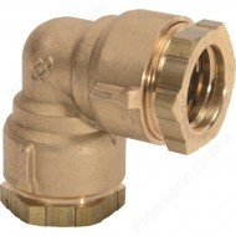 Coude pour tube PEHD Ø 25 - Raccord laiton à compression - HUOT