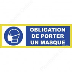 Panneau Obligation de porter un masque 450 x 150 mm haute visibilité - NOVAP