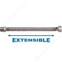 "Flexible extensible Inox M 1/2"" - F 1/2"" Longueur 250 à 500 mm - TUCAI"
