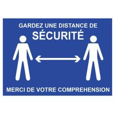 """Panneau """"Gardez une distance de sécurité"""" bleu - Distanciation - spécial COVID"""