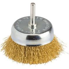 Brosse conique Ø 75 mm en acier laitonné ondulé - SCID - Vue dessus