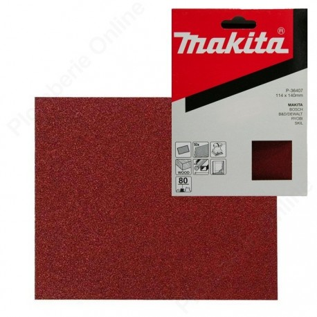 Papier abrasif 114 x 140 mm Grain 80 MAKITA P-36407