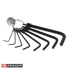 Jeu 8 clés mâles tête hexagonale 6 pans sur anneau 1,5 à 8 mm - FACOM 87H.JE8