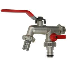 Robinet double vannes de puisage 1/4 tour M15x21- 2 Sorties M20x27 - Sélection Plomberie Online