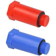 """Bouchon mâle 1/2"""" avec insert laiton - Couleur rouge ou bleu - Sélection Plomberie Online"""