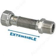"Flexible 1/2"" (15x21) extensible 75 - 130 mm inox annelé"