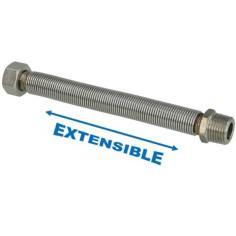 """Flexible 1/2"""" extensible 200 à 410 mm inox annelé - Plomberie Online"""