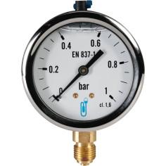 "Manomètre radial à bain de glycérine pression 0 - 1 bar M 1/4"""