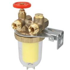 """Filtre à fioul bitube 3/8"""" avec vanne d'arrêt Oilpur ZA - OVENTROP"""