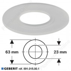 Joint de soupape Ø 63 x 23 mm pour mécanisme / cloche wc- GEBERIT 891.015.00.1