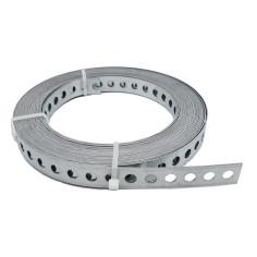Bande perforée de fixation et montage - largeur 17 mm en acier galvanisé - 10 m