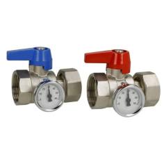 """Set de vannes 1"""" avec thermomètre pour collecteur - Sélection PLOMBERIE ONLINE"""