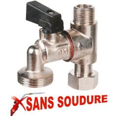 """Robinet pour piquage machine à laver MF 3/8"""" Sans soudure - RIQUIER 04029"""